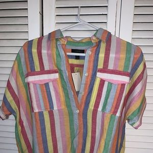 Brand new rainbow colored J. Crew pullover blouse!